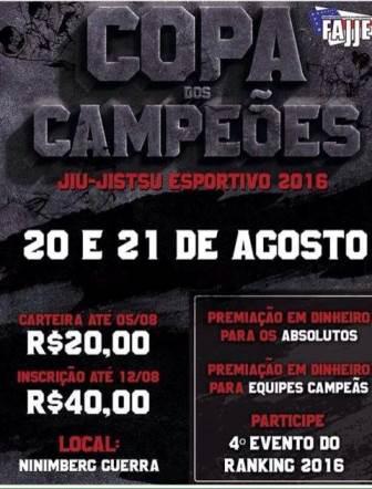 Copa dos Campeões de Jiu-Jitsu Esportivo 2016 acontece neste fim de semana