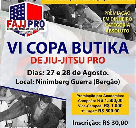 FAJJPRO está com inscrições abertas para VI Copa Butika de Jiu-Jitsu Profissional