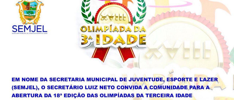 Secretario Luis Neto participará de cerimônia de abertura da 18ª edição das Olimpíadas da terceira idade