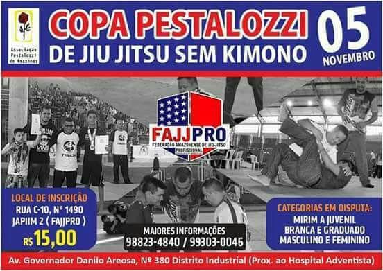Copa Pestalozzi de jiu-jitsu sem kimono acontece neste sábado, dia , em Manaus
