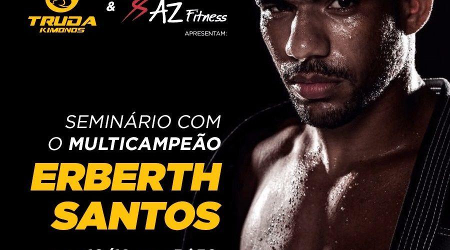Seminário com o campeão Mundial de jiu-jitsu Erberth Santos acontece neste sábado (10) na AZ Fitness