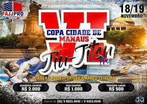 Inscrições para a VI Copa Cidade de Manaus de Jiu-Jitsu Profissional encerram nesta quarta-feira (15)