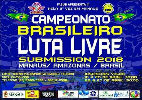 Manaus sediará Campeonato Brasileiro de Luta Livre Submission