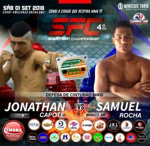 """Jhonatan Capote """"Bin Laden"""" e Samuel Rocha duelam pelo cinturão da categoria Pena neste sábado (1º)"""