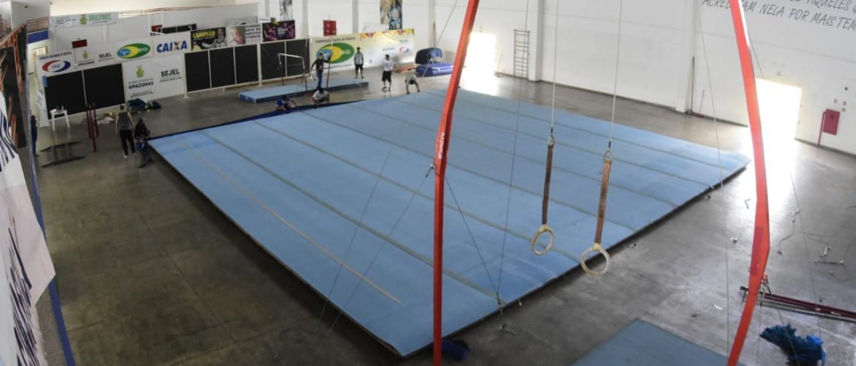 Novos aparelhos de ginástica artística começam a ser montados no Centro de Ginástica do Amazonas